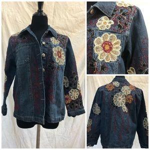Jackets & Blazers - Vtg Boho floral Embroidery denim Jean Jacket Sz MP